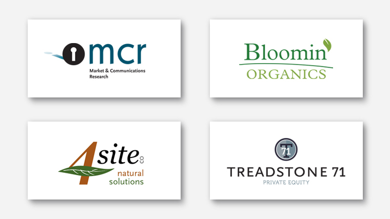 Logos for MCR, Bloomin Organics, 4Site natural solutions and Treadstone 71