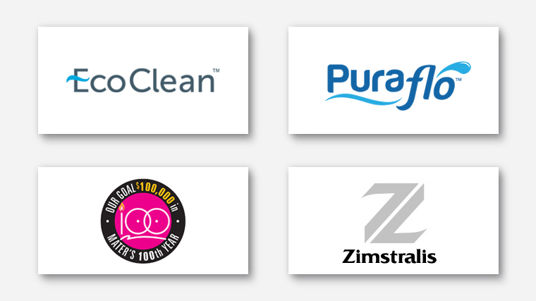 Logos for EcoClean, PuraFlow, Mater and Zimstralis