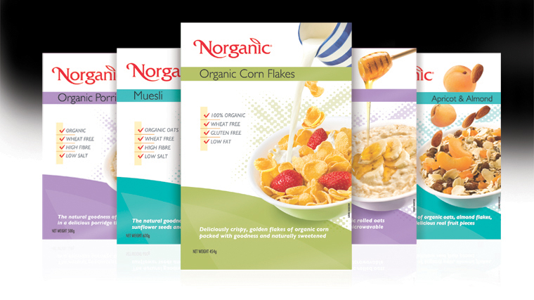 Norganic cereal box packaging