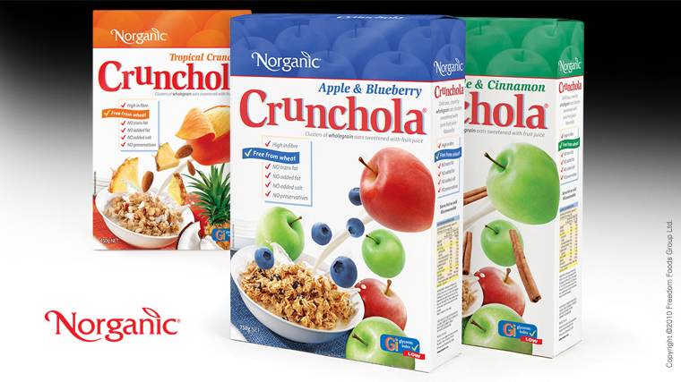 Norganic Crunchola box packaging